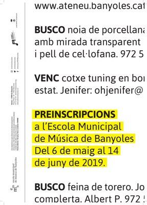 Comença el període de preinscripcions al curs 2019-2020 de l'Escola municipal de música de Banyoles