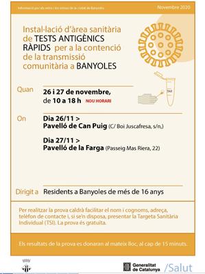 El Departament de Salut farà a partir de demà a Banyoles cribratges intensius de Covid-19