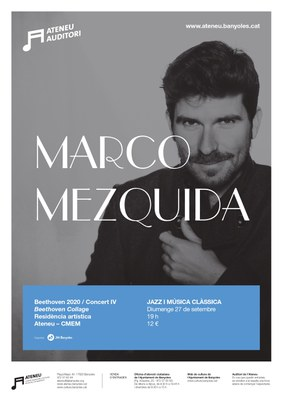Marco Mezquida oferirà el quart concert de la residència artística amb una reinterpretació de l'obra de Beethoven