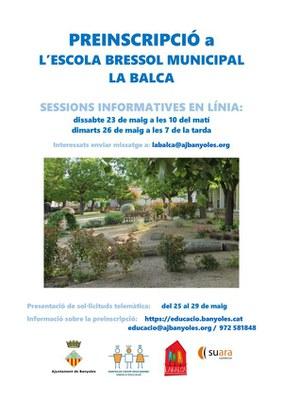 Preinscripcions 2020-2021 a La Balca: sessions informatives en línia i presentació de sol·licituds