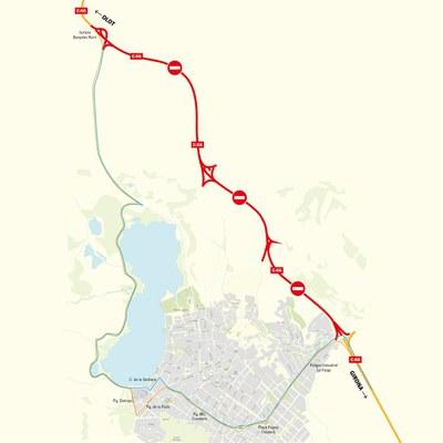 Tall de trànsit a la variant de Banyoles (carretera C-66)